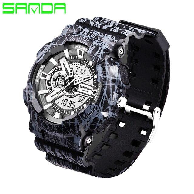 2017 SANDA Hombres Mujeres Reloj Militar Digital LED Reloj Luminoso de la Moda Casual Relojes de pulsera Relojes Deportivos Reloj Del Estilo G