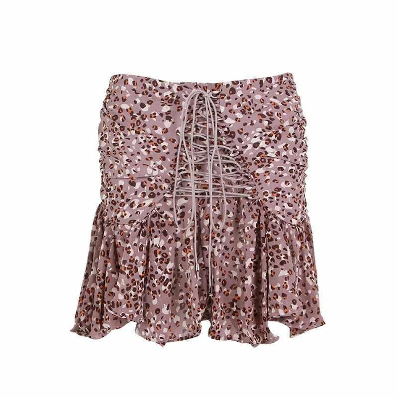 TWOTWINSTYLE, сексуальная женская юбка с принтом, высокая талия, бандаж, Асимметричные Короткие плиссированные юбки, женская летняя коллекция 2019, винтажная мода