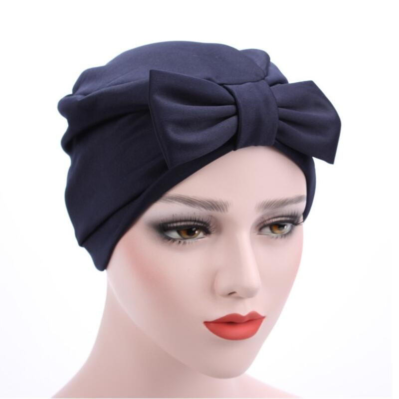2017 New Big Bow Turban Hat Hair Accessories India Hats Europe Style Fashion Headdress Luxury Chemo Caps for Women chsdcsi pleuche women turban caps twist dome caps head wrap europe style india hats womens beanies skullies for fall and spring