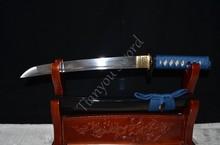 Samurai Japanese Short Sword Tanto Handmade Custom Blade Sharp 1060 High Carbon Steel blue ito Real Rayskin Handle Knife Sale