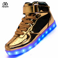 Alto-top Zapatos Led Para Adultos que llegaban Nuevos Hombres Casual LED Zapatos Unisex Plateado luminoso de Carga USB Luz par Brillante zapato