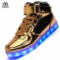 High-top Sapatos Levaram Para Adultos New chegou Homens Casual LED Sapatos luminosos Unisex Prateado USB Cobrando Luz Up casal Brilhante sapato