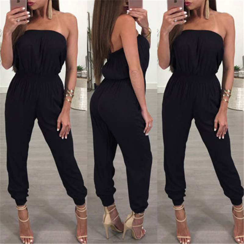 Black Strapless Jumpsuit Women Sleeveless Summer Jumpsuit 2019 Office Work Wear Elegant Casual Women Clothes Set Rompers Clothes