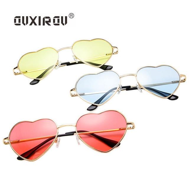 2c503c4825 love Heart Sunglasses Women Tinted Color Lens Designer metal frame heart  shape sun glasses Brand Designer For Ladies pink S014