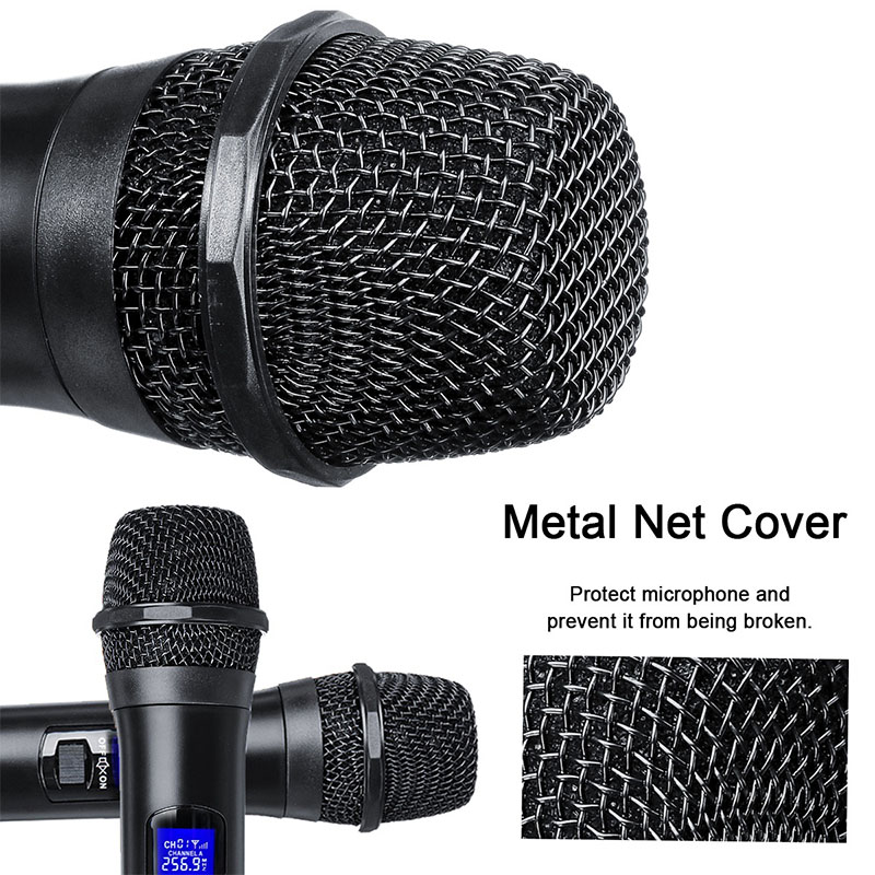 Système de Microphone sans fil professionnel UHF double microphone à main sans fil Kit de micro sans fil 2 canaux pour karaoké en Studio - 6