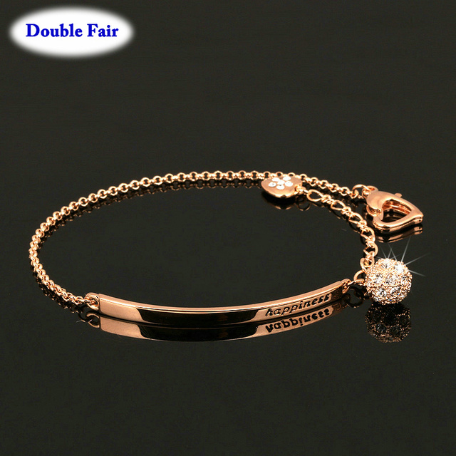Anti Allergy Ol Style Aaa Cubic Zirconia Fashion Bracelets Bangles Rose Gold Color Crystal Jewelry For