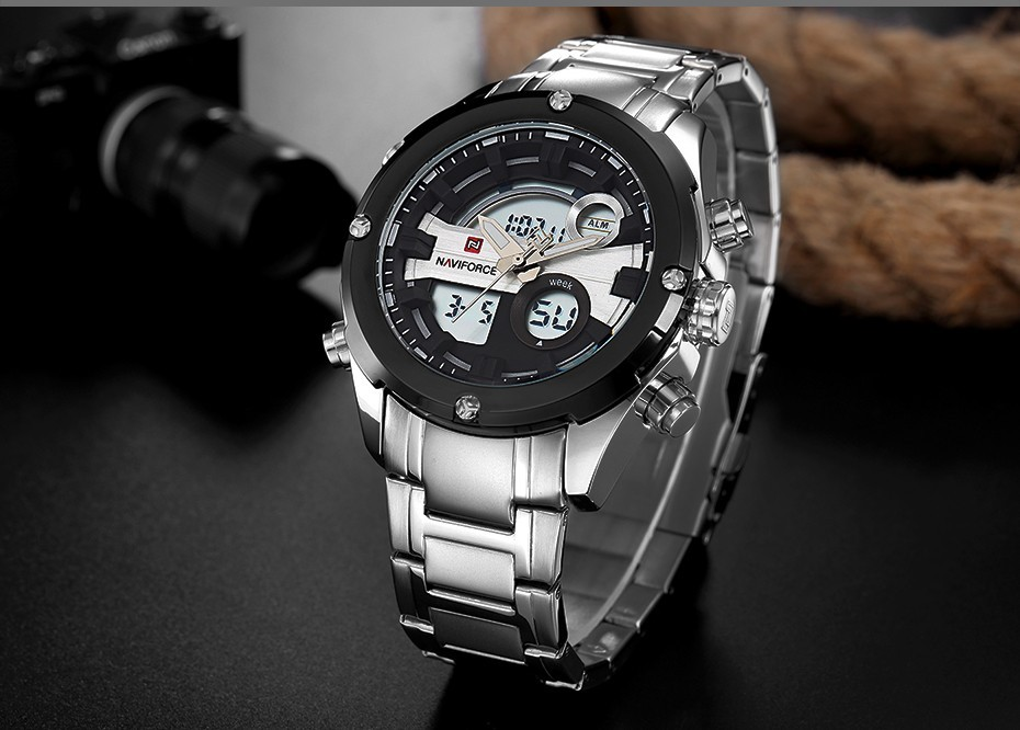 Top Luxury Brand NAVIFORCE Men Full Steel Sport Watches Men's Quartz Analog LED Clock Man Military Wrist Watch Relogio Masculino 10