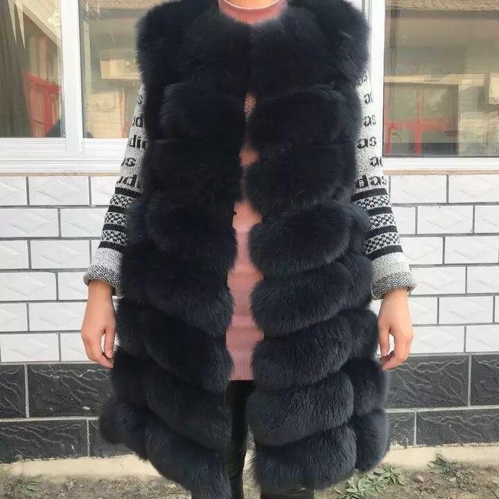 90 CM Naturel Réel Renard veste en fourrure Nouvelle 2018 Hiver Long et Épais Femmes Véritable Fourrure gilet Poches Réel veste en fourrure Manteaux pour femmes