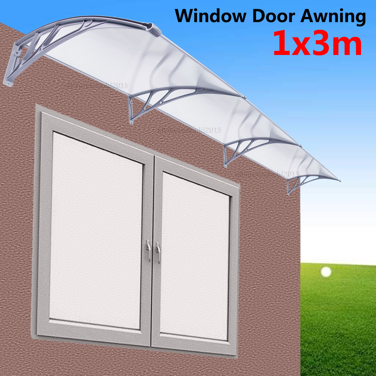 1m x 3m DIY Outdoor Window Patio UV Rain Awning Cover Sun Shield Door Canopy 4pcs set smoke sun rain visor vent window deflector shield guard shade for cadillac xt5 2016 2017