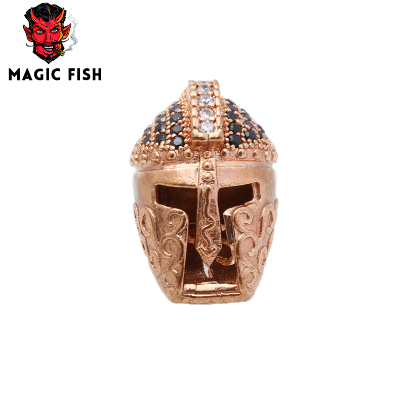 The Best Magic Fish Roman Gladiator Helmet Hole Beads For Making Fashion Men Bracelets&bangles 16mm Inlaid Blue Zircon Beads Accessories Beads & Jewelry Making Beads