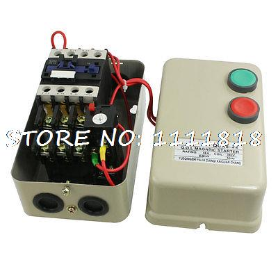380V Coil 5.5 KW 7.5 HP 13A Three Phase Motor Control Magnetic Starter chint electromagnetism starter magnetic force starter qc36 10t motor starter phase protect magnetic force switch