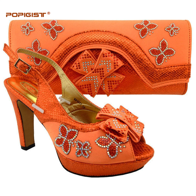 e41dae85fe1 Summer Orange color lady Shoe Women Pumps Sexy Platform High Heels Bridal Shoes  and Bags To Match Shoes and Bag Set African Sets