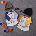 AD Cute Face Pattern Boys Girls Fleece T-shirts 100% Cotton Kids t shirt Thick Thermal Basic Children's Tops for Winter Clothing