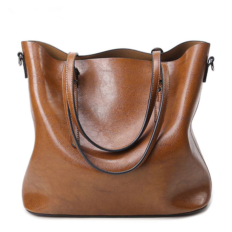 Oil Wax  Leather Handbags Women High quality Vintage Shoulder Bag 2017 Women's Large Tote Bags Ladies Casual Leather Bolsos