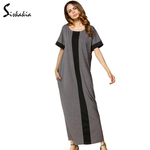 a94d9ebf2c As mulheres muçulmanas verão 2018 Cinza Vestido longo Feminino Casual  camisa solta T estilo maxi Vestidos