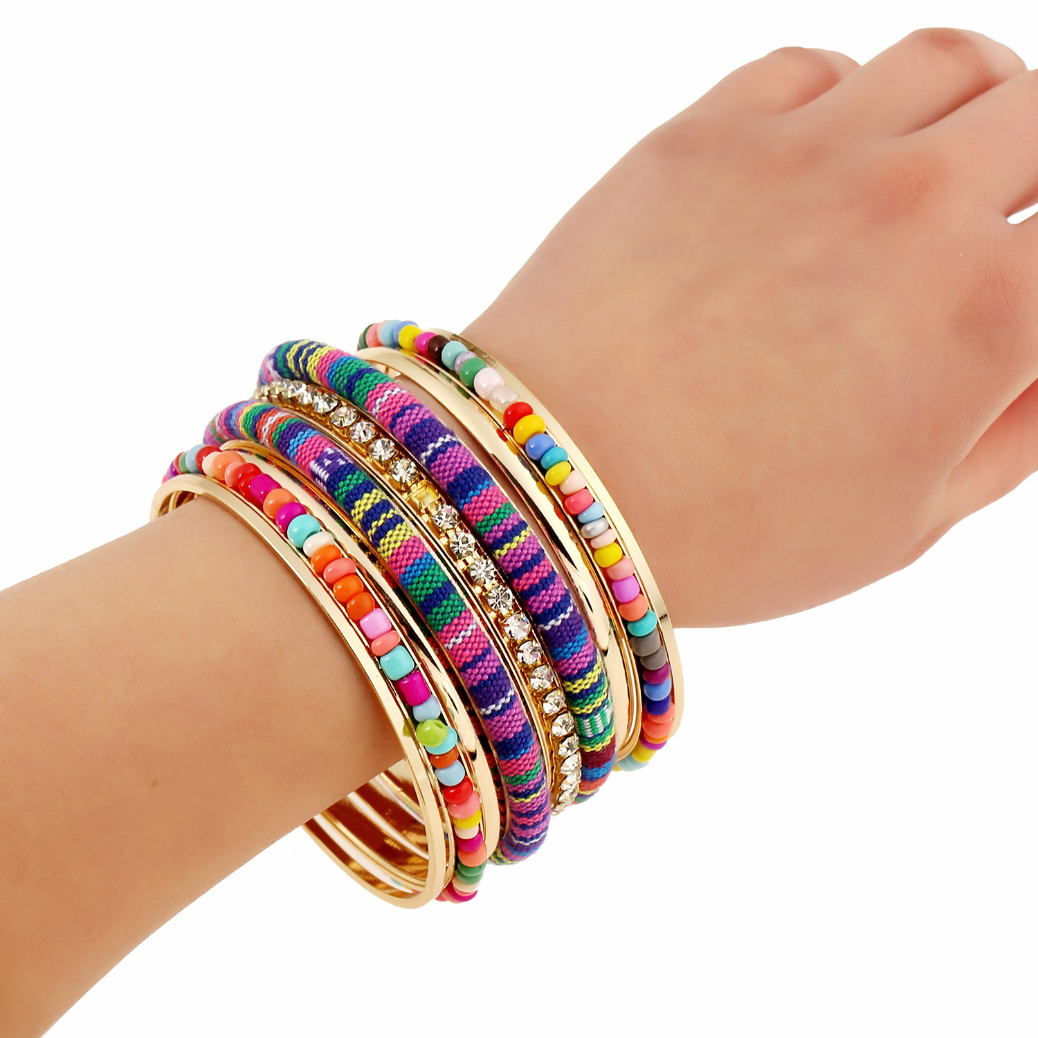 semiprecious bangles set round products with gold and square stones of
