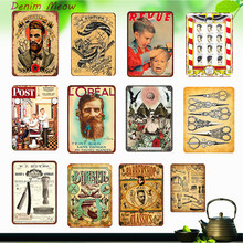 Vintage BARBER SHOP Metal Poster Cafe Bar Pub Tin Sign Plaque Retro Haircut and Shave Beard Iron Plates Printing Home Decor WY10