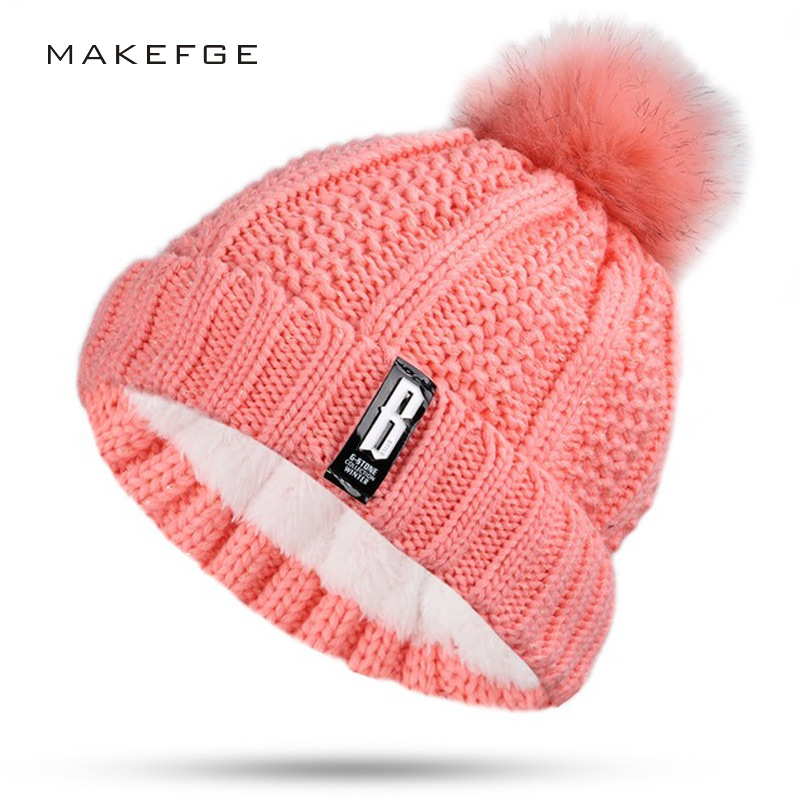Fashion Girl 'S Double layer Warm caps pompoms Ball Winter hats For Women Knitting Cap Hat   Skullies     Beanies   Hat female Gorros