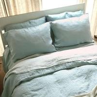 100 Linen Bedding Set King Queen Size Light Blue Gray Stripe Colors 4 Pcs Set Flat