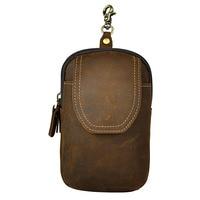 Vintage New Genuine Leather Casual Travel Bag Men S Mini Waist Pack Hook Buckle Double Zipper