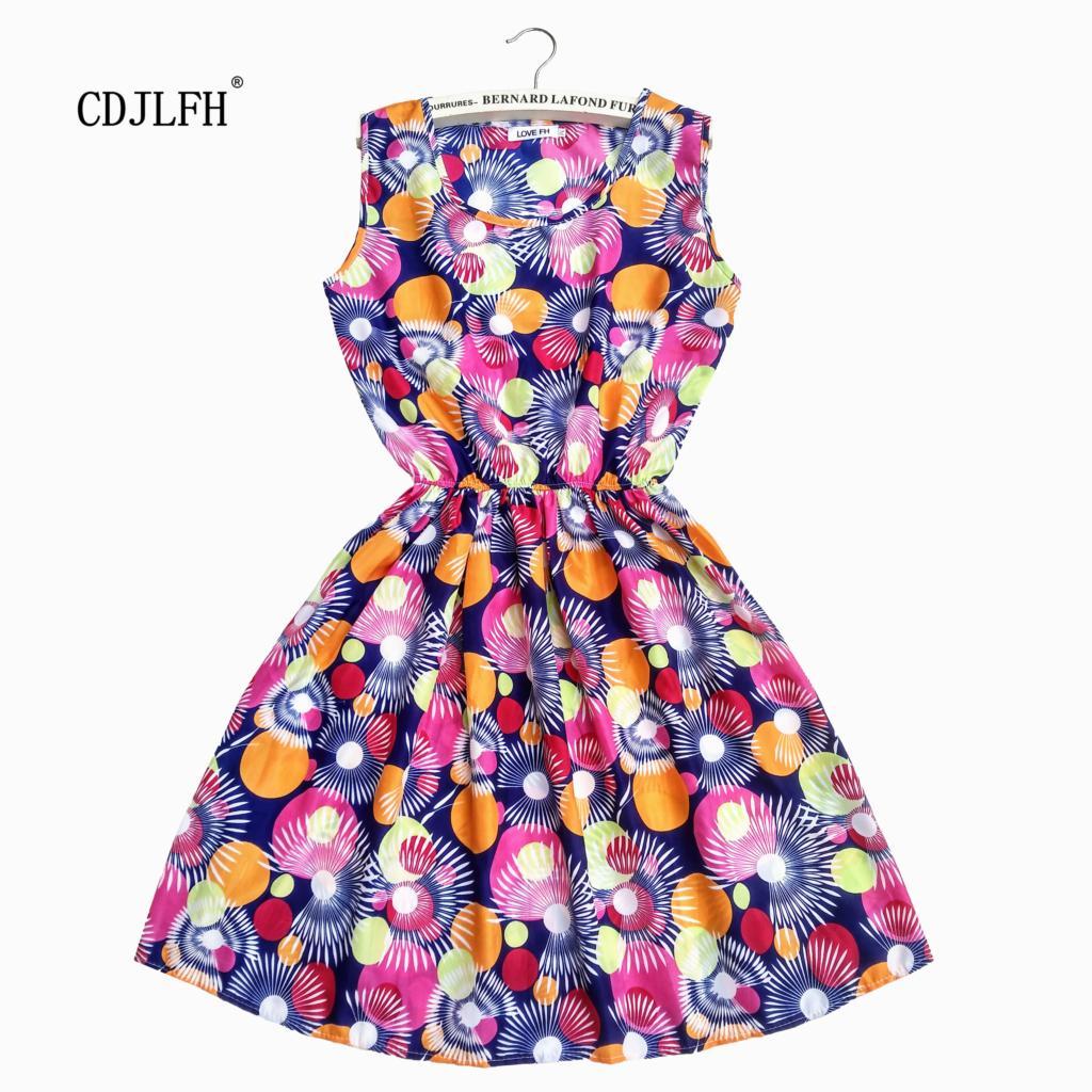 CDJLFH 2018 Summer Women Beach Dress Sleeveless Round Neck Bohemian Floral Vest Printed Beach Chiffon Dress Vestidos GHBYNZ1826