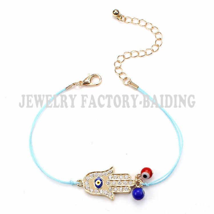 Bracelet turc en or bleu avec perles de verre et mauvais œil rouge
