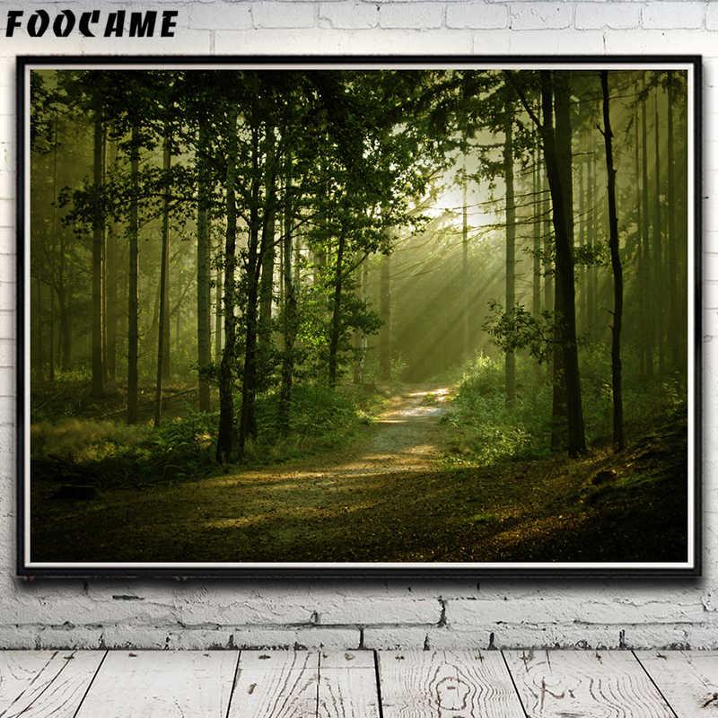 Foocame Alam Pohon Rumput Lukisan Pemandangan Hutan Poster Kain