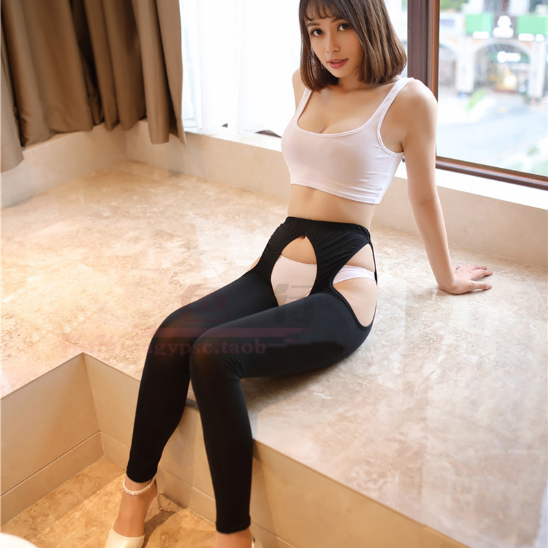 Sexy Women Ice Silk Hollow Out Open Crotch Transparent   Leggings   See Through Pencil Pants Erotic Lingerie Club Wear FX17