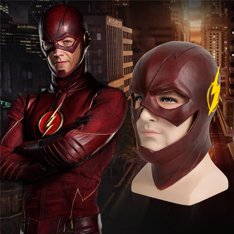 Red Arrived The Flash Allen Cosplay Helmet Halloween Full Face Latex Mask New