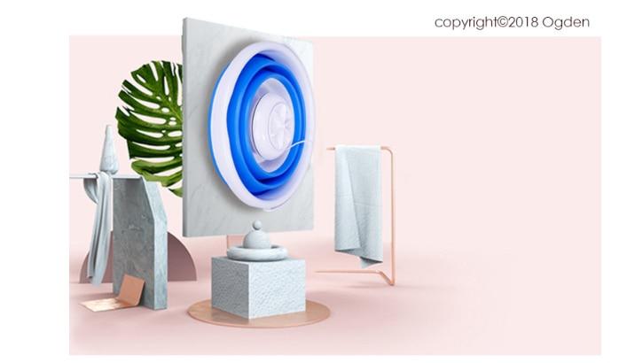 Мини стиральная машина ультра вибрационная волна турбина Портативный Путешествия Портативный мини складной ведро супер трусики носки нижнее белье - Цвет: Синий