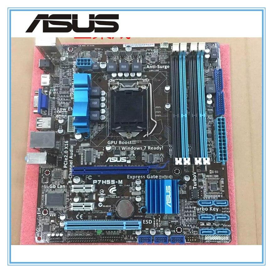 ASUS P7H55-M Оригинал материнская плата DDR3 LGA 1156 Поддержка I3 I5 ЦП 16 ГБ USB2.0 VGA HDMI H55 uATX Desktop motherborad