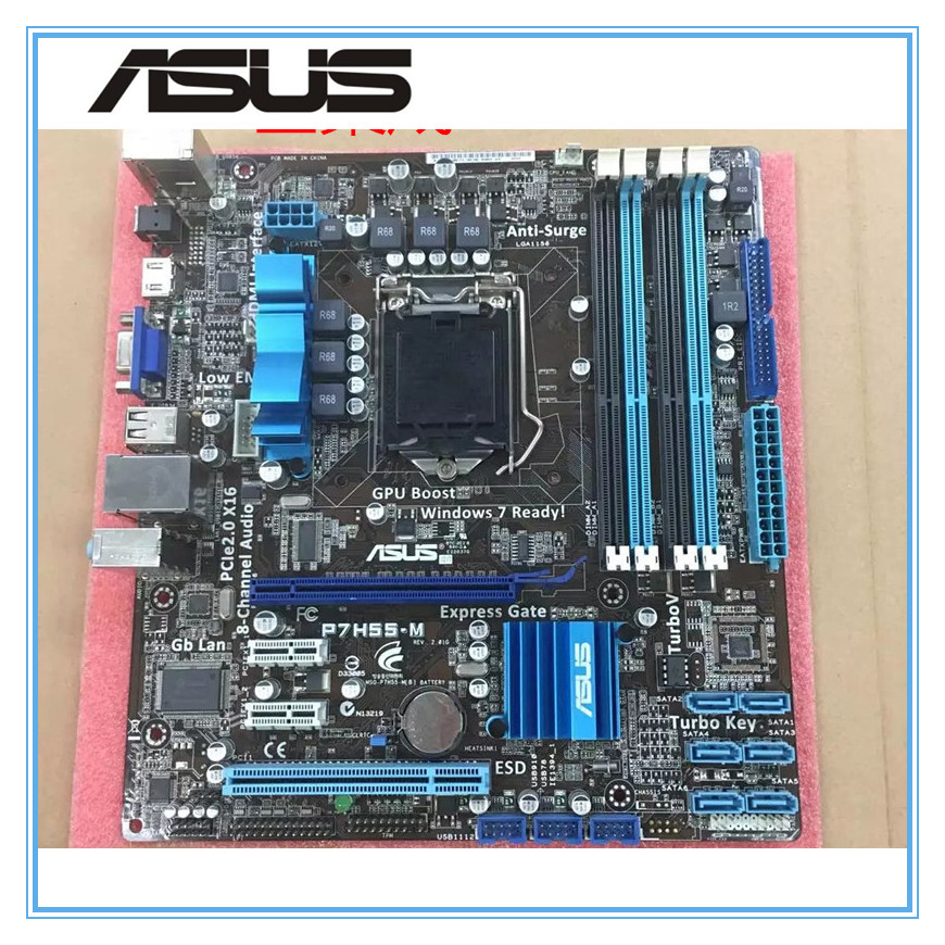 ASUS P7H55-M original motherboard    DDR3 LGA 1156 Support I3 I5 cpu 16GB USB2.0 VGA HDMI H55 uATX Desktop motherborad original used desktop motherboard for asus m4a88t m a88 support socket am3 4 ddr3 support 16g 6 sata2 uatx