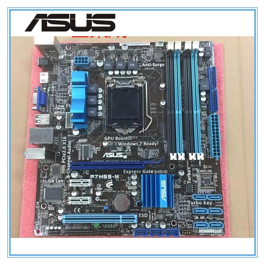 ASUS P7H55-M original motherboard DDR3 LGA 1156 Support I3 I5 cpu 16GB USB2.0 VGA HDMI H55 uATX Desktop motherborad