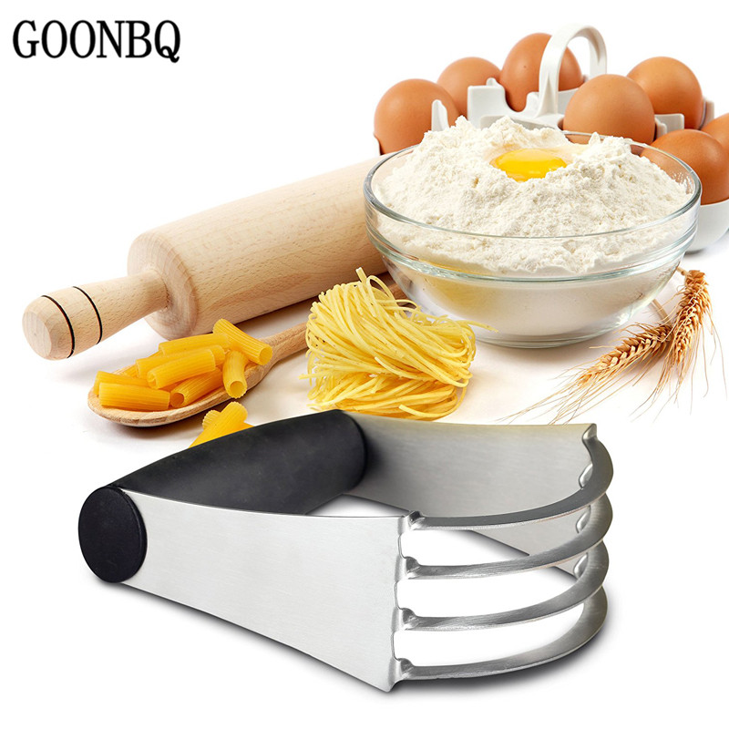 GOONBQ 1 pc Pastry Blender Stainless Steel Flour Mixer Pastry Dough Cutter Blender Whisk Tool Rubber Handle Tool