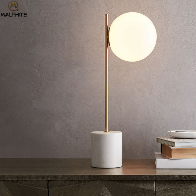 Post Modern Minimalist Marble Base Table Lights White Glass Ball