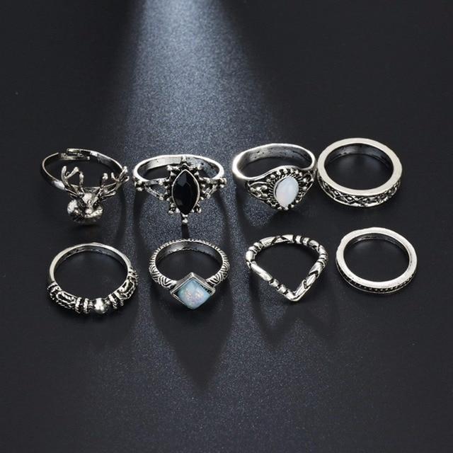 7pcs Set Shellhard Gothic Rings Antique Silver Color Jewelry Bijoux Opal Gem Stone Above