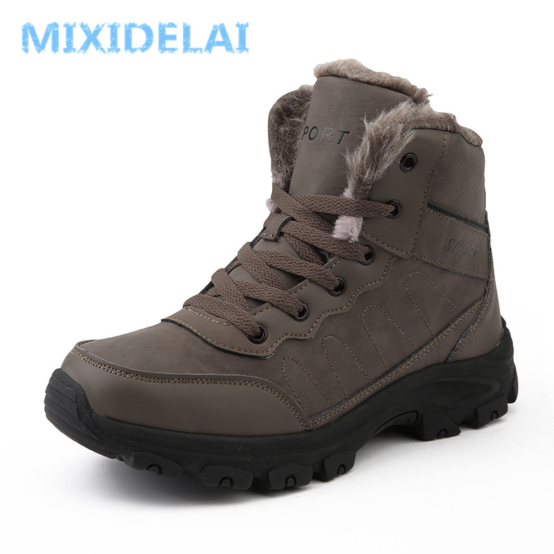 Super Warm Men Winter Boots Quality Waterproof Leather Outdoor Men Boots Fur Ankle Boots Plush Snow Boots Winter Men Shoes