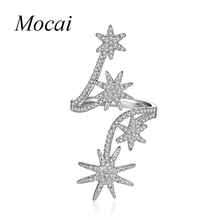 Mochai AAA Cubic Zirconia Sunflower Cuff Rings Finger Shining Layer Stars Opening Long Ring Jewelry For Women Lord Of Ring ZK40