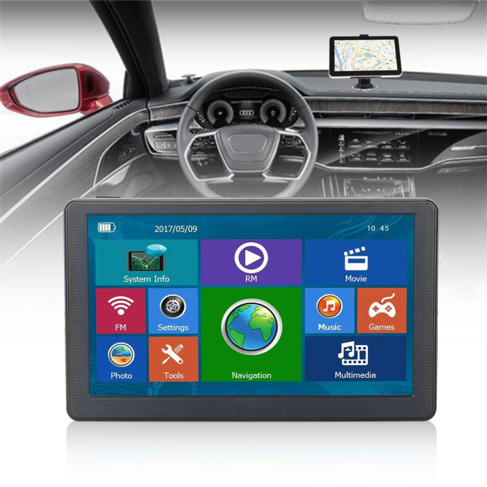 7inch Car Driving recorder Truck GPS Intelligent Navigation Bluetooth 8GB Wired Reversing View Camera LED Sunshade Touchscreen