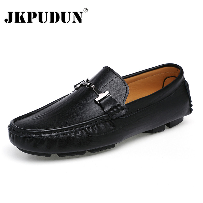 JKPUDUN Large Size 38-48 Men Leather Casual Shoes Loafers Luxury Mens Moccasins Chaussures Male Breathable Formal Driving Shoes