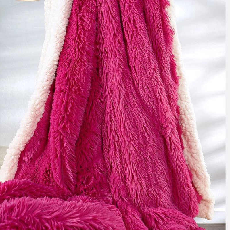 Luxury Long Hair Plush Baby Cashmere Silky Soft Throw Blanket Winter Fluffy Warm Double Face Bedspread Throw Bed Quilt Blanket