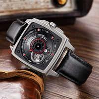 Megir Square Automatic Man Watches Men Luxury Brand Date Month Flying Tourbillon Watches Men Mechanical Watch Montre Homme
