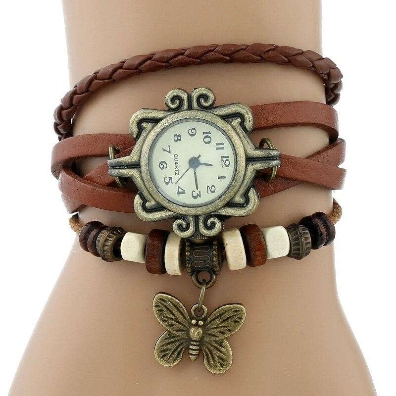 Gnova платины Кожаный Браслет Бабочка Леди Винтаж наручные часы мятно-зеленый розовый фиолетовый Этническая мода A887 - Цвет: Коричневый