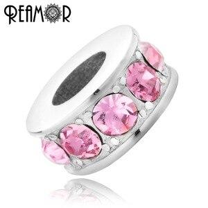 REAMOR роскошные розовые синие блестящие хрустальные бусины из нержавеющей стали, бусины-подвески для женщин, браслеты, ожерелье, сделай сам, ю...