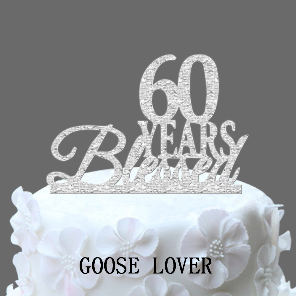 60th Birthday/Anniversary Cake Topper Personalized 60 Years Blessed Cake Topper, Custom Year Cake Topper, Elegant Cake Topper