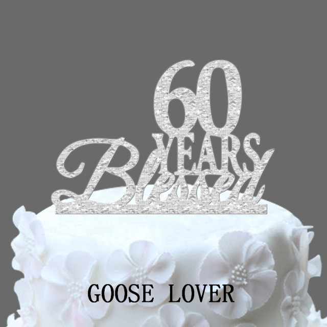 60th Birthday Anniversary Cake Topper Personalized 60 Years Blessed Custom Year Elegant