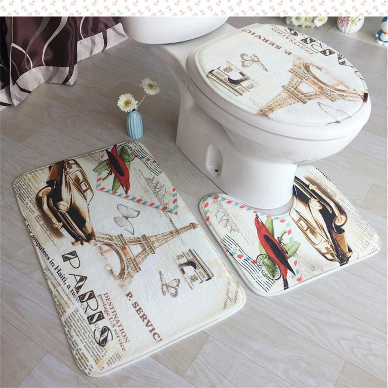3D Flannel Printing Toilet 3pcs/set Carpet Toilet Floor Mats Bathroom Antiskid Pad Super Soft toilet accessories decoration home