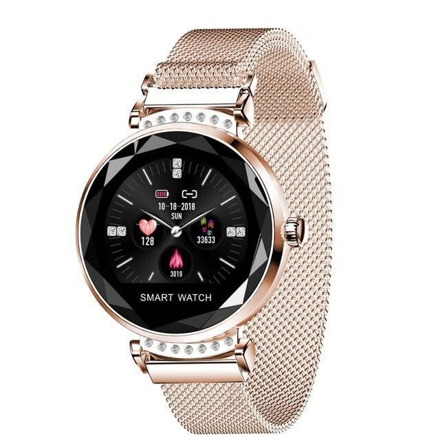 Greentiger Fashion Women H2 Smart Watch Heart Rate Blood Pressure Waterproof Sleep Monitor 3D Diamond Glass Lady Smartwatch