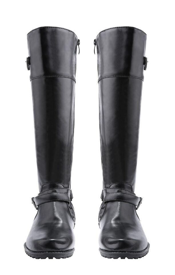 New Autumn Winter Brand 2018 Round Toe Square heel Women Boots Fashion Martin Boots Western Metal Belt Buckle Ladies shoes все цены