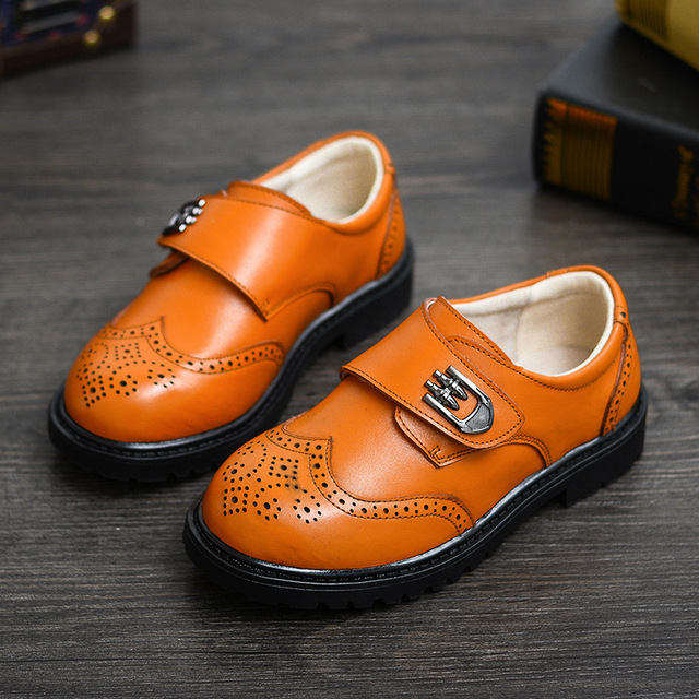 Fashion Children Leather Shoes For Boys Genuine Leather Dress Shoes Kids Low-heel Oxford Wedding Party Shoes Rubber Sole Perfect